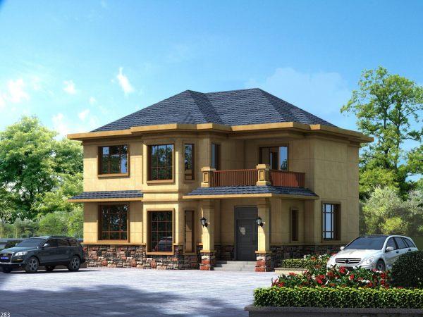 占地12x10m二层乡村小别墅,大面积玻璃窗造型,千万别错过!