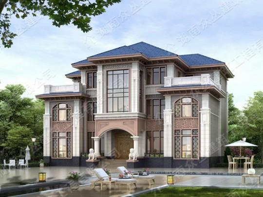 新款三层新中式风格框架结构占地224平方
