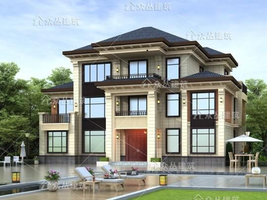 新款三层经典新中式框架结构别墅设计图纸