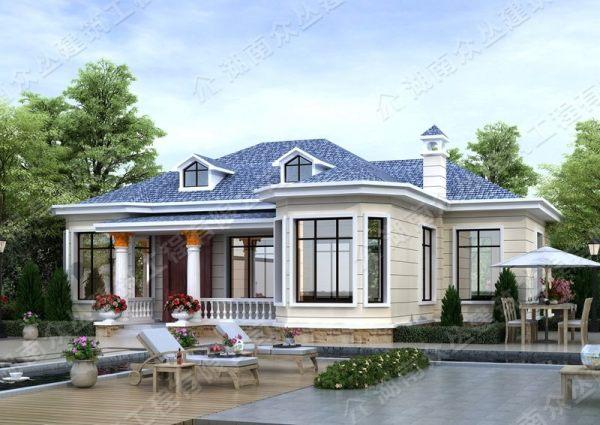 乡村自建房一层欧式别墅占地206平方