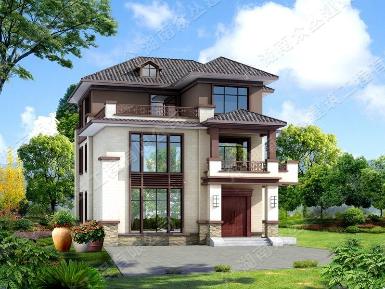 开间11.5X13.5米占地150平方 新中式别墅