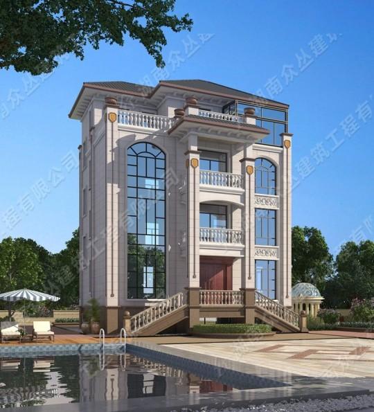 四层欧式风格别墅 架空层占地101平方