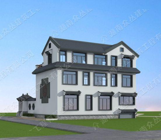 古典中式带车库带内院占地270平方乡村别墅