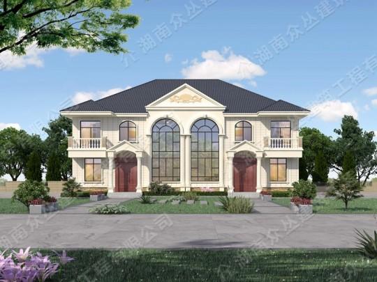 欧式双拼二层乡村别墅设计