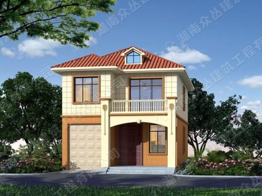 农村二层房屋设计欧式别墅施工效果图纸