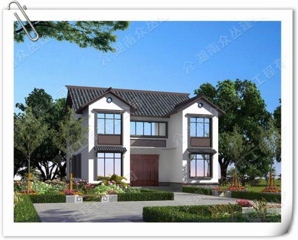 新农村二层新中式别墅全套设计施工效果图