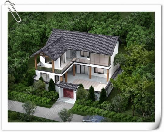 新中式二层农村三合院别墅设计施工效果