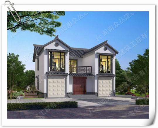 12×12农村自建两层中式风格别墅设计图