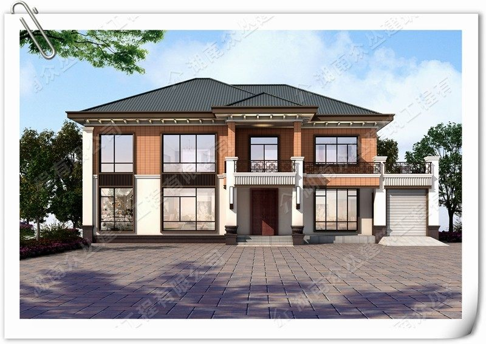 两层新中式农村复式别墅设计效果图纸