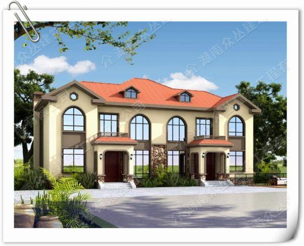 兄弟双拼二层别墅设计图简欧风格自建房图纸