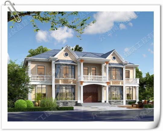 二层简欧小双拼别墅自建房施工效果图纸