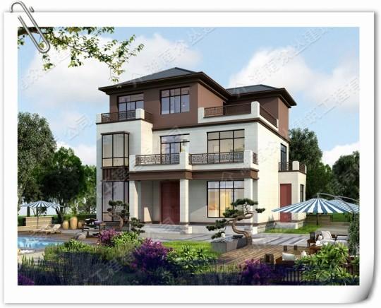 三层新中式别墅图纸300平自建房设计图
