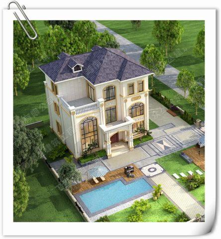 乡村三层欧式别墅设计图纸效果图全套