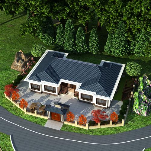 占地22x14一层欧式自建别墅设计