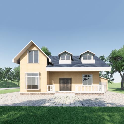 15x13美式一层自建别墅设计