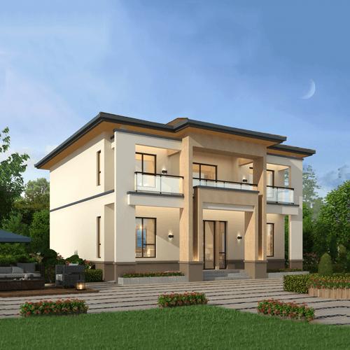 12x12现代风格二层自建别墅设计