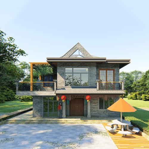 10x8兩層中式自建別墅設計