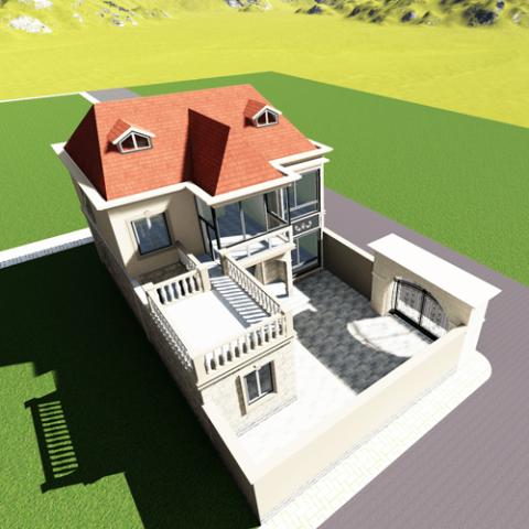 11x25欧式两层自建别墅设计图纸