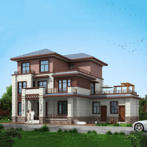20x12三层新中式自建别墅设计