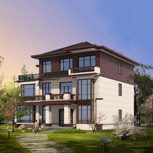 14x13三层新中式自建别墅设计