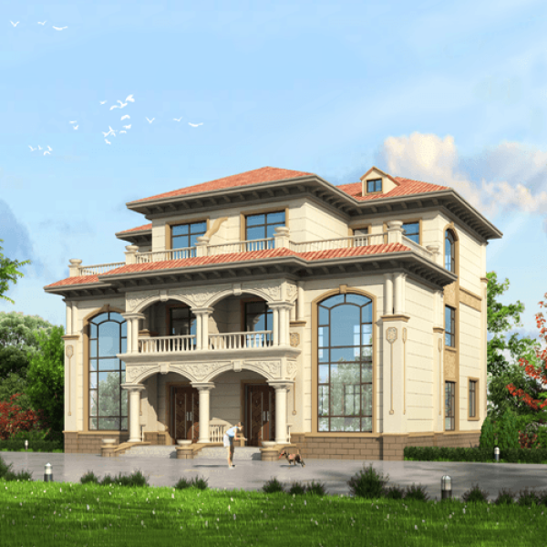 16x14三层欧式自建别墅设计图纸