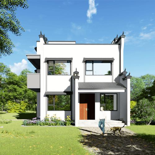 9x12两层中式自建别墅设计图纸