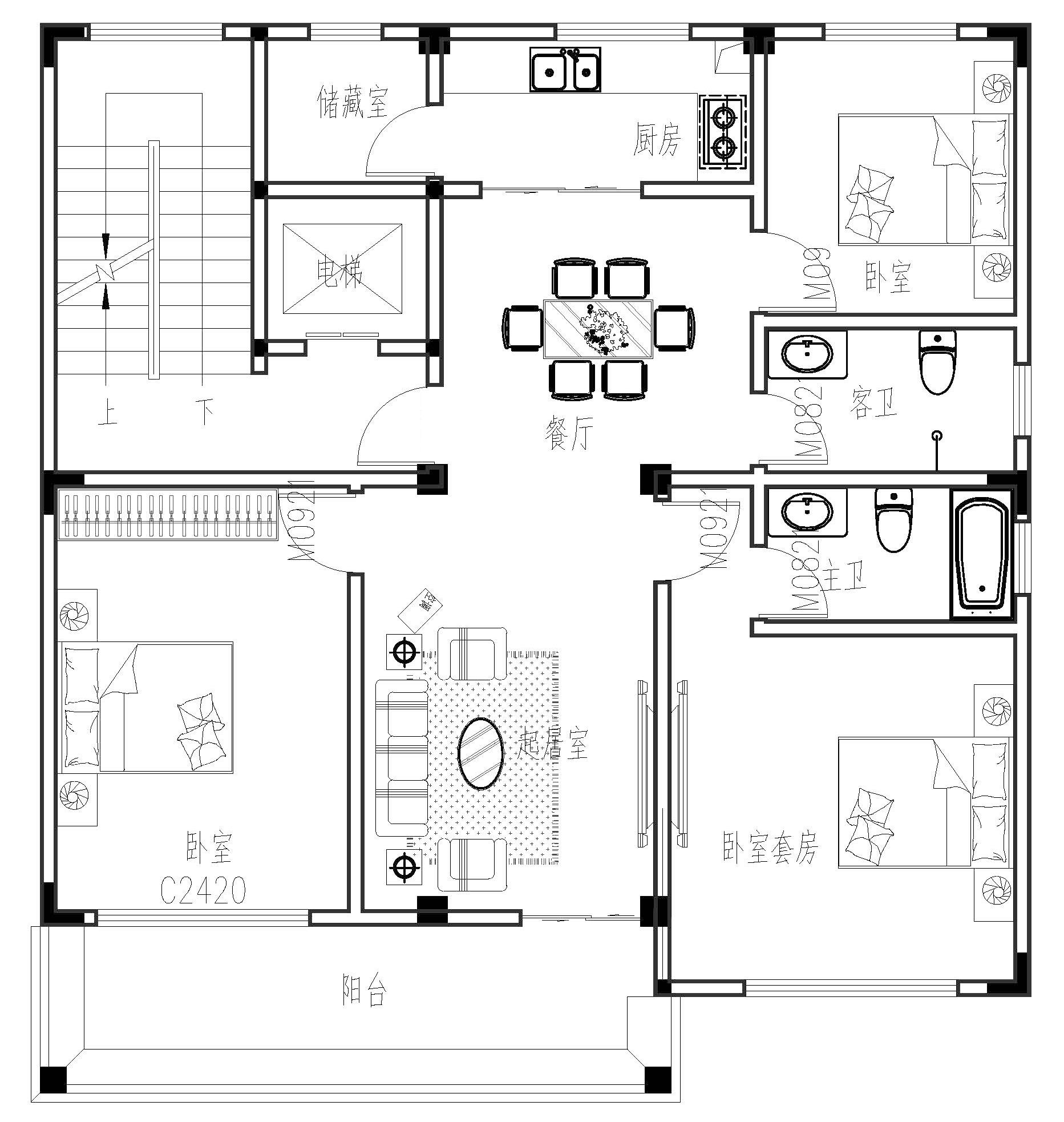 欧式五层以上别墅设计图施工图