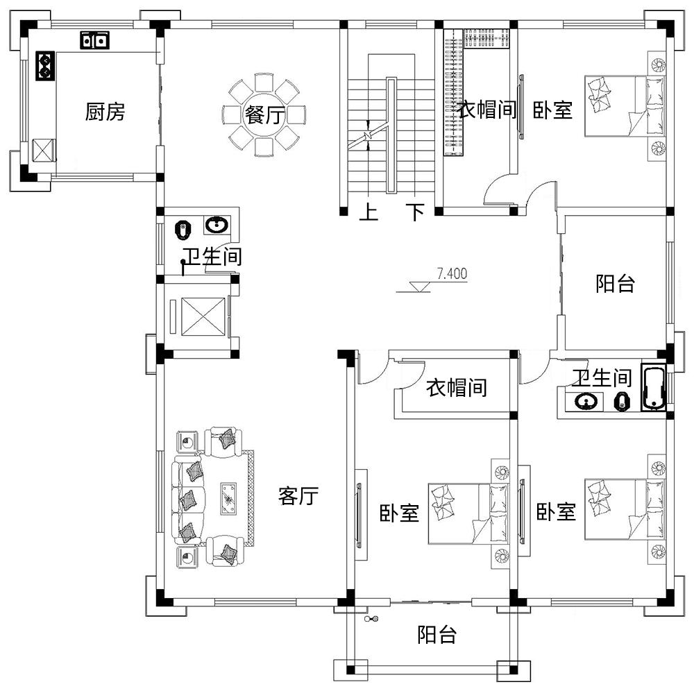 中式五层以上别墅设计图平面图