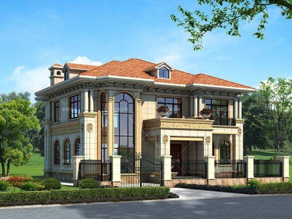 占地14x14二层复式客厅自建别墅设计全套施工图