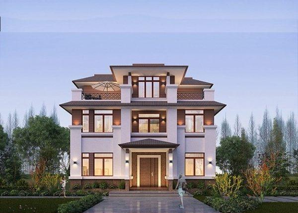 三層七室三廳三衛典雅中式別墅圖紙