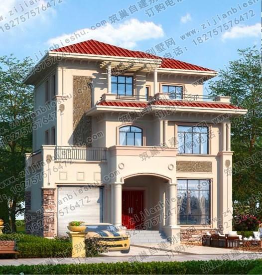 带车库欧式别墅外观图新农村三层房屋洋楼设计图片