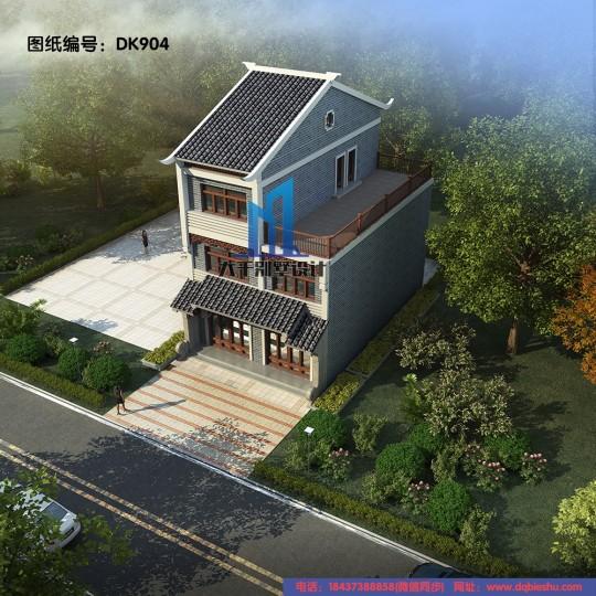 8x13三层中式别墅带大露台