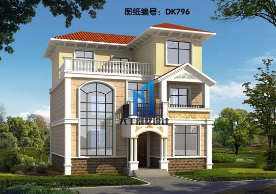 10x12三层配色淡雅的欧式别墅 带露台