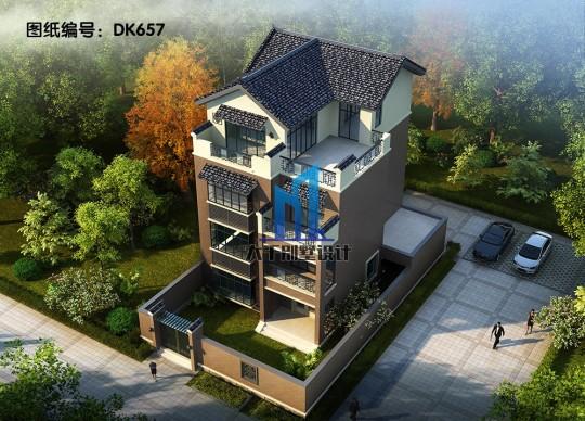 中式带庭院的四层别墅