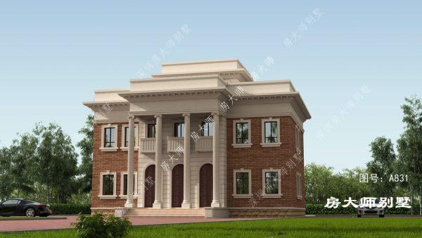 美式三层罗马柱、平屋顶别墅