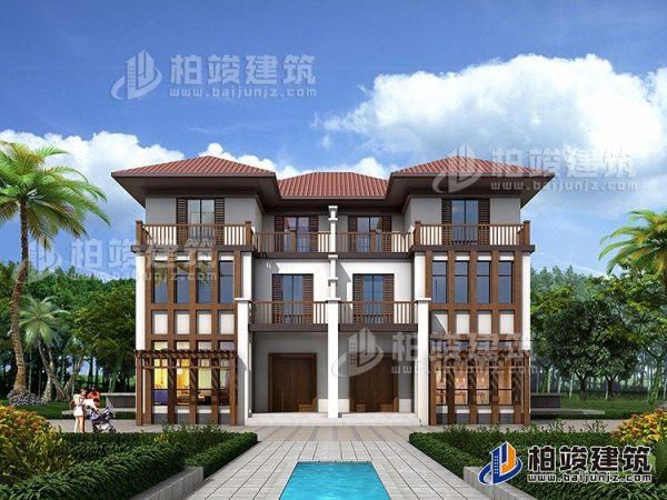 农村三层双拼新中式别墅全套设计施工图纸
