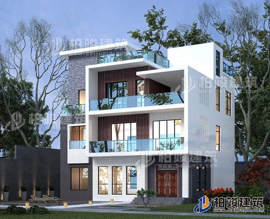 三层现代简约风格别墅设计图 11x11米