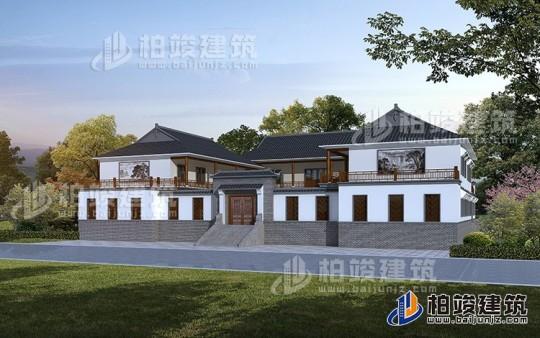 二层自建中式四合院别墅设计图纸