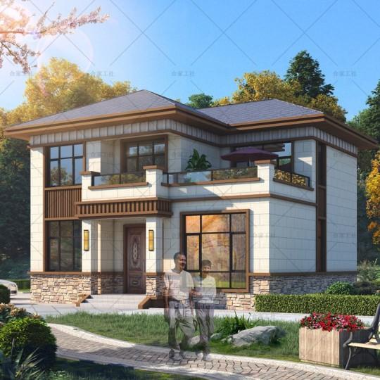 【实用型】占地120平 经济实用新中式两层别墅