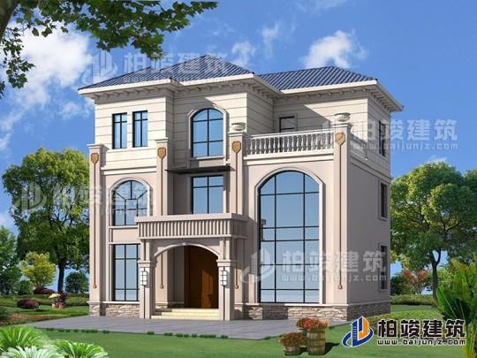 农村三层欧式带旋转楼梯房屋设计图纸及效果图大全