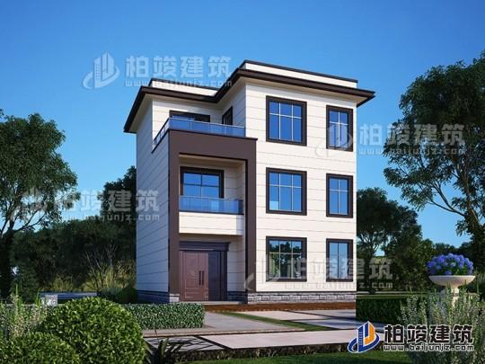 农村三层带阳台现代风格小别墅图纸及效果图