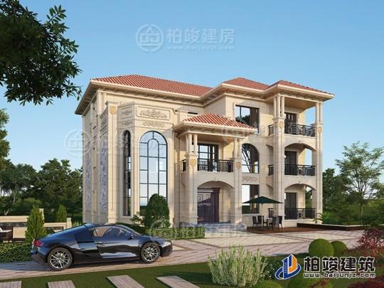 复式三层欧式别墅外观效果图及施工图