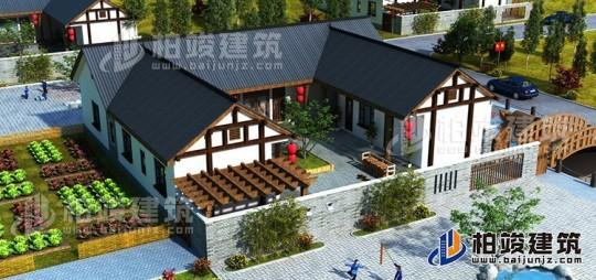 漂亮的农村一层小别墅设计图17X20米