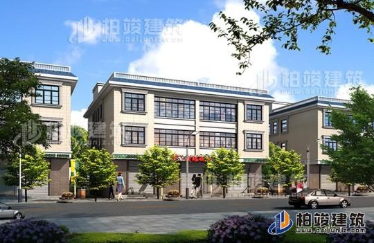 临街三层带商铺自建房屋设计图纸—三层带门面别墅