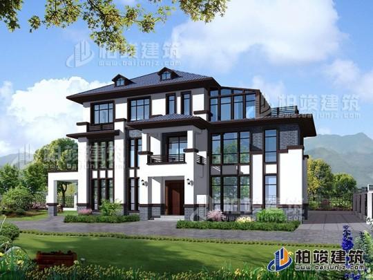 新中式复式三层别墅设计图纸,最美的新中式别墅 带车库