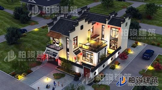 农村新中式二层带车库小别墅设计图纸