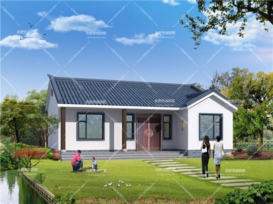 12.2米*10.1米一层中式别墅设计图纸