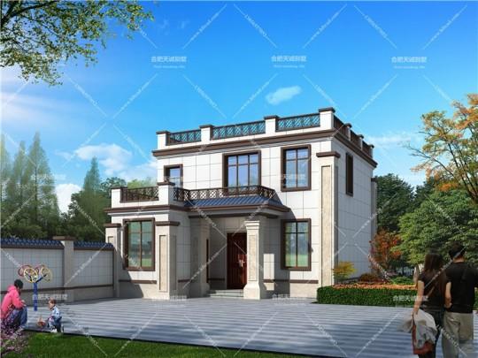8.8米*17.8米二层新中式别墅设计图纸