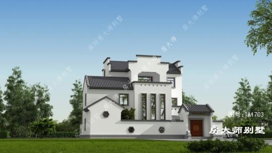 18x16三层中式自建别墅设计
