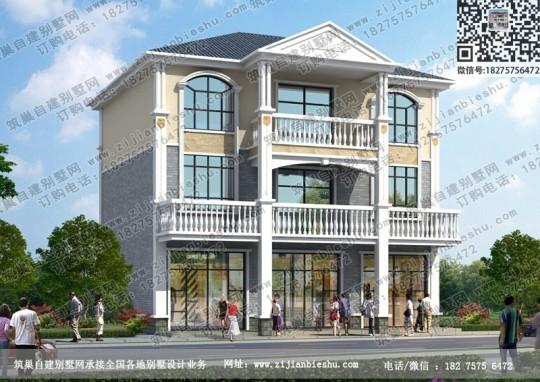 带商铺三层农村自建房屋设计图乡镇别墅楼房施工图